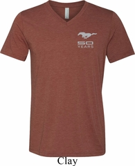 Mens Ford 50 Years Pocket Print Tri Blend V-neck Shirt