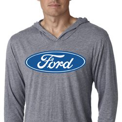 Mens Ford Shirt Ford Oval Lightweight Hoodie Tee T-Shirt