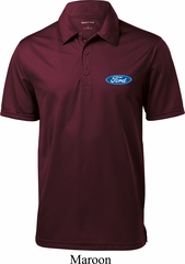 Mens Ford Shirt Ford Oval Pocket Print Textured Polo
