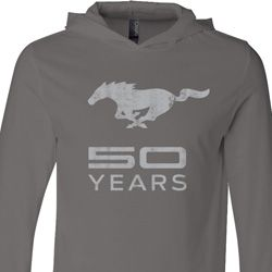 Mens Ford Shirt Mustang 50 Years Lightweight Hoodie Tee