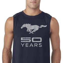 Mens Ford Shirt Mustang 50 Years Sleeveless Tee T-Shirt