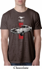 Mens Ford Shirt Red Stripe Mustang 50 Years Burnout Tee T-Shirt