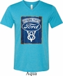 Mens Ford Shirt V8 Genuine Ford Parts Tri Blend V-neck Tee T-Shirt