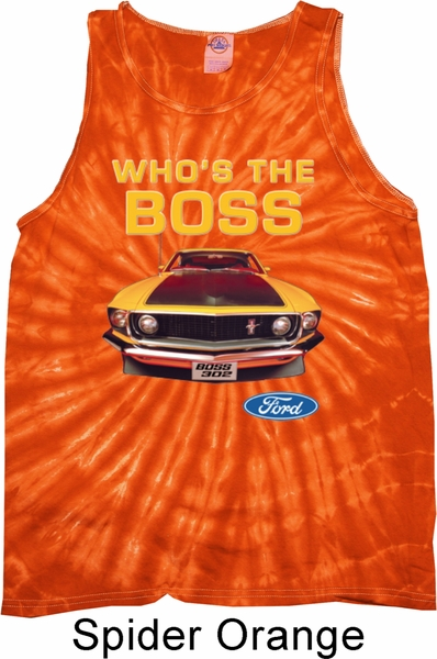 03be285fbbd09 Mens Ford Tanktop Mustang Who s The Boss Tie Dye Tank Top - Mustang ...
