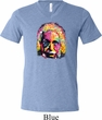 Mens Funny Shirt Albert Einstein Tri Blend V-neck Tee T-Shirt