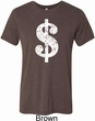 Mens Funny Shirt Distressed Dollar Sign Tri Blend Crewneck Tee T-Shirt