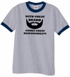 Mens Funny Shirt Great Beard Great Responsibility Ringer Tee T-Shirt