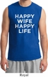 Mens Funny Shirt Happy Wife Happy Life Muscle Tee T-Shirt