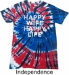 Mens Funny Shirt Happy Wife Happy Life Patriotic Tie Dye Tee T-shirt
