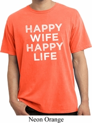 Mens Funny Shirt Happy Wife Happy Life Pigment Dyed Tee T-Shirt