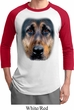 Mens German Shepherd Shirt Big German Shepherd Face Raglan Tee T-Shirt