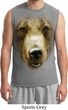 Mens Grizzly Bear Shirt Big Grizzly Bear Face Muscle Tee T-Shirt