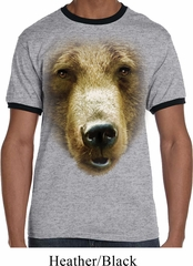 Mens Grizzly Bear Shirt Big Grizzly Bear Face Ringer Tee T-Shirt