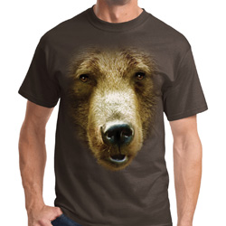 Mens Grizzly Bear Shirt Big Grizzly Bear Face Tee T-Shirt