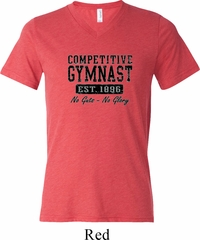 Mens Gymnastics Shirt Competitive Gymnast Tri Blend V-neck Tee T-Shirt