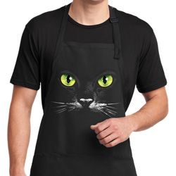 Mens Halloween Apron Black Cat Full Length Apron with Pockets