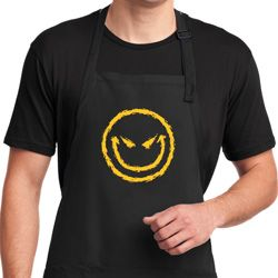 Mens Halloween Apron Evil Smiley Face Full Length Apron with Pockets