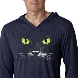 Mens Halloween Shirt Black Cat Lightweight Hoodie Tee T-Shirt