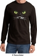 Mens Halloween Shirt Black Cat Long Sleeve Tee T-Shirt