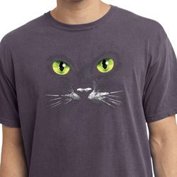 Mens Halloween Shirt Black Cat Pigment Dyed Tee T-Shirt