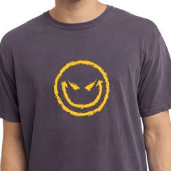 Mens Halloween Shirt Evil Smiley Face Pigment Dyed Tee T-Shirt