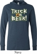 Mens Halloween Shirt Trick Or Beer Lightweight Hoodie Tee