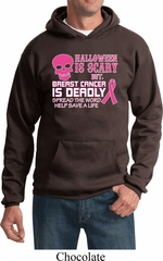 Mens Hoodie Halloween Scary Breast Cancer Deadly Hoody