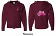 Mens Hoodie Pink Ribbon Beat Cancer Front & Back Print Full Zip Hoody