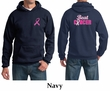 Mens Hoodie Pink Ribbon Beat Cancer Front & Back Print Hoody