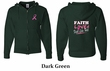 Mens Hoodie Pink Ribbon Faith Love Fight Front & Back Full Zip Hoody