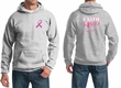 Mens Hoodie Pink Ribbon Faith Love Fight Front & Back Print Hoody