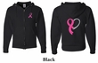 Mens Hoodie Pink Ribbon Heart Front & Back Print Full Zip Hoody