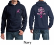 Mens Hoodie Pink Ribbon Keep Calm Front & Back Print Hoody