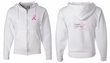 Mens Hoodie Pink Ribbon Pink For My Aunt Front & Back Full Zip Hoody