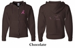 Mens Hoodie Pink Ribbon Pink For My Cousin Front & Back Full Zip Hoody