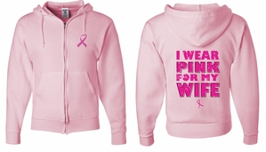 Mens Hoodie Pink Ribbon Pink For My Wife Front & Back Full Zip Hoody