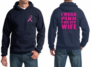 Mens Hoodie Pink Ribbon Pink For My Wife Front & Back Print Hoody