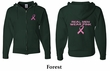 Mens Hoodie Pink Ribbon Real Men Front & Back Print Full Zip Hoody