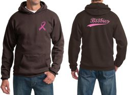 Mens Hoodie Pink Ribbon Save the Boobies Front & Back Print Hoody