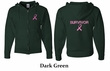 Mens Hoodie Pink Ribbon Survivor Front & Back Print Full Zip Hoody