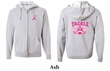 Mens Hoodie Pink Ribbon Tackle Cancer Front & Back Full Zip Hoody