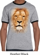Mens Lion Shirt Big Lion Face Ringer Tee T-Shirt