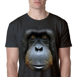 Mens Orangutan Shirt Big Orangutan Face Burnout T-Shirt