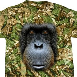 Mens Orangutan Shirt Big Orangutan Face Tie Dye T-shirt