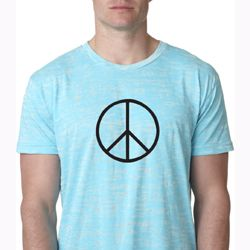 Mens Peace Shirt Basic Peace Black Burnout Tee T-Shirt