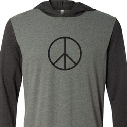 Mens Peace Shirt Basic Peace Black Lightweight Hoodie Tee