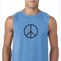 Mens Peace Shirt Basic Peace Black Sleeveless Tee T-Shirt