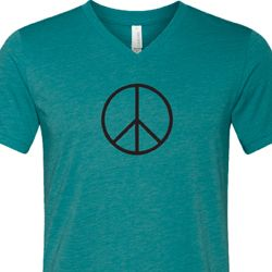 Mens Peace Shirt Basic Peace Black Tri Blend V-neck Tee