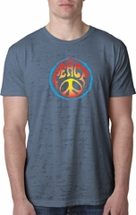 Mens Peace Shirt Psychedelic Peace Burnout Tee T-Shirt