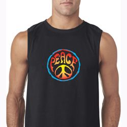Mens Peace Shirt Psychedelic Peace Sleeveless Tee T-Shirt